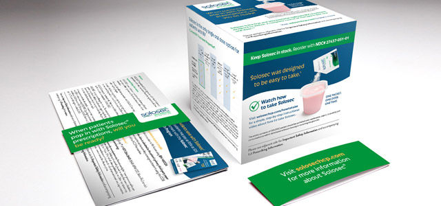 branded pharmaceutical pop-up box advertising material for solosec
