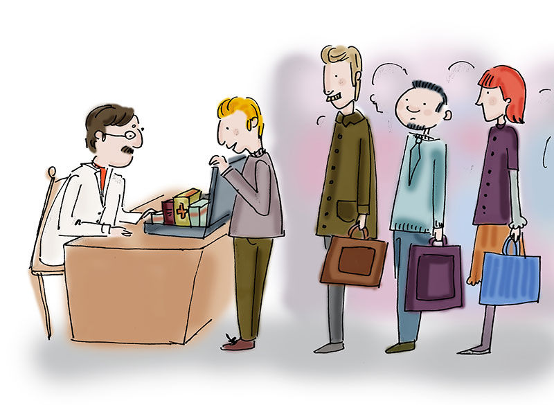 Sales reps in line to see physician cartoon