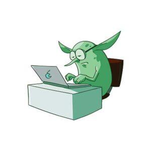Social Media Troll at computer