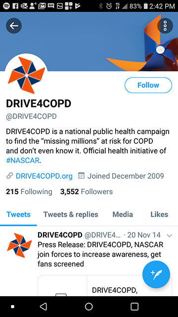 @drive4COPD Twitter page