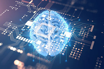 AI brain over computer chip personalizing non-personal promotion