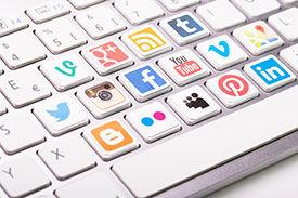 Social Media Icons on Computer Keys