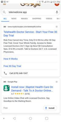 Google Telemedicine app advertising campaign examples