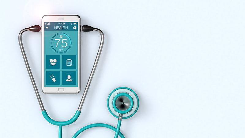 Stethoscope listening to phone