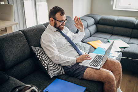 Zoom conferencing with dress shirt in boxers