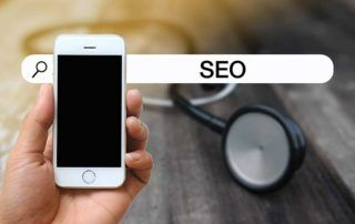 Person searching SEO with stethoscope