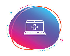 Computer with healthcare plus symbol on screen