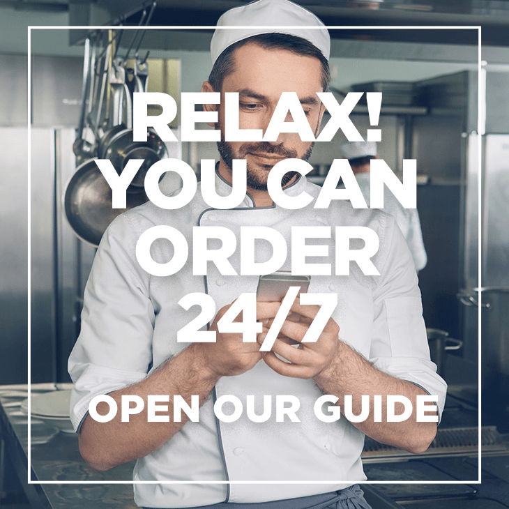 order online square banner - chef on phone