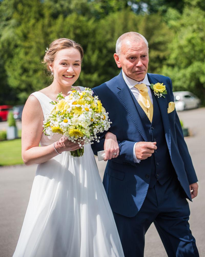 Bride and her dad walking to wedding, Ringwood Hall weddings, Sheffield wedding photographer