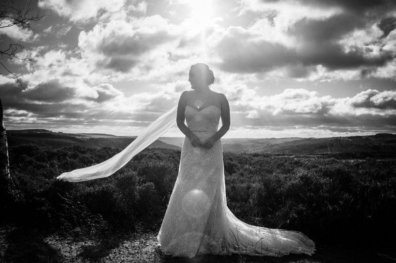 Bridal dress veil flowing in the Peaks
