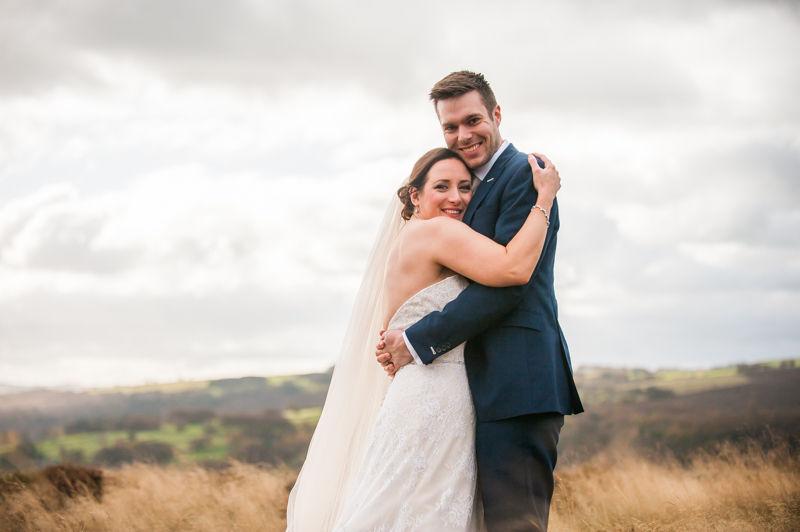 Wedding cuddles in the Peak District