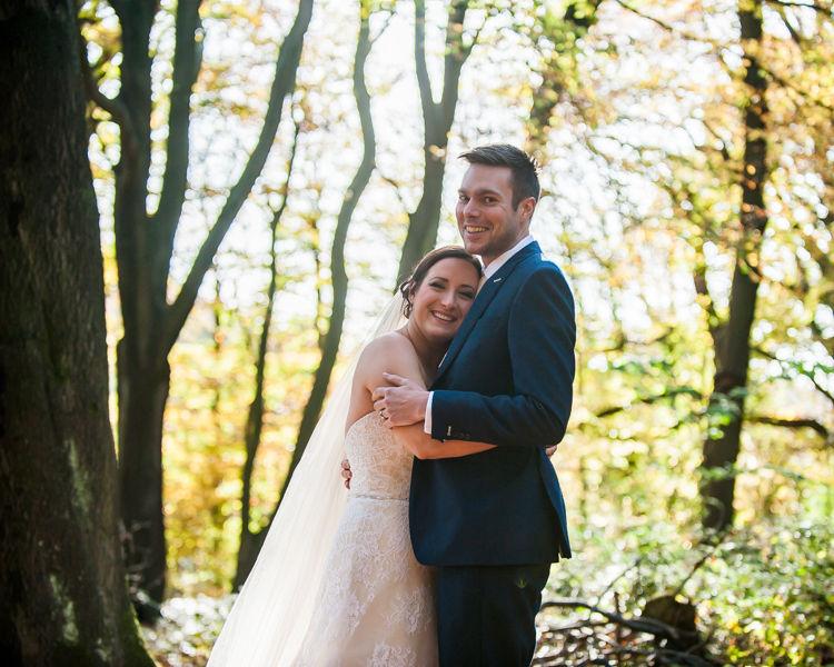 Sheffield Autumn wedding couple cuddling