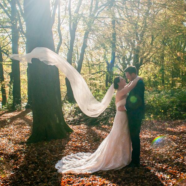 Veil flying in air for Sheffield wedding