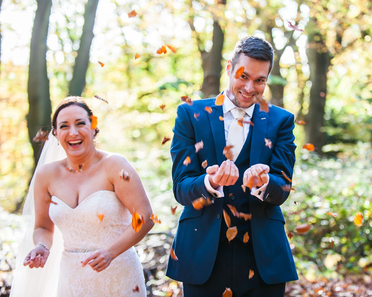 Leaf fight for bride and groom in Sheffield wedding