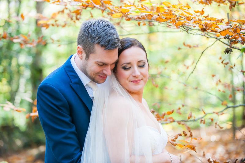 Bride and groom cuddles for Autumn Sheffield wedding