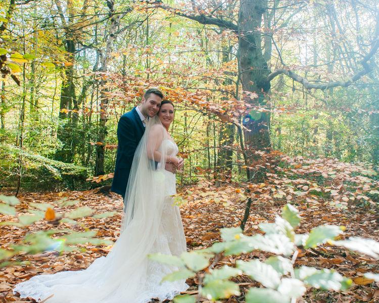 Ecclesall Woods Sheffield Autumn wedding couple