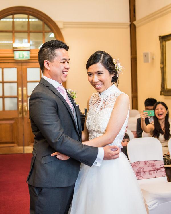 Happy bride & groom - Sheffield Town Hall