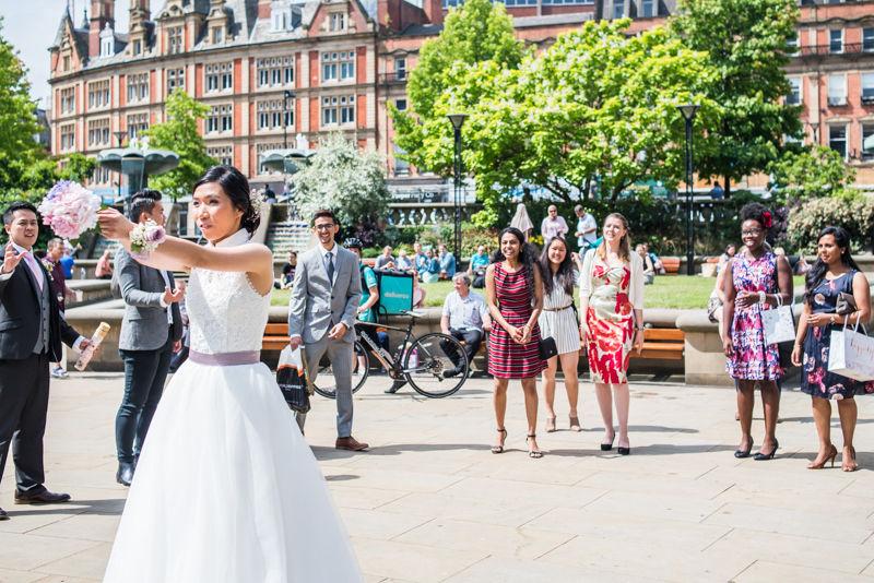 Bouquet toss - Sheffield wedding