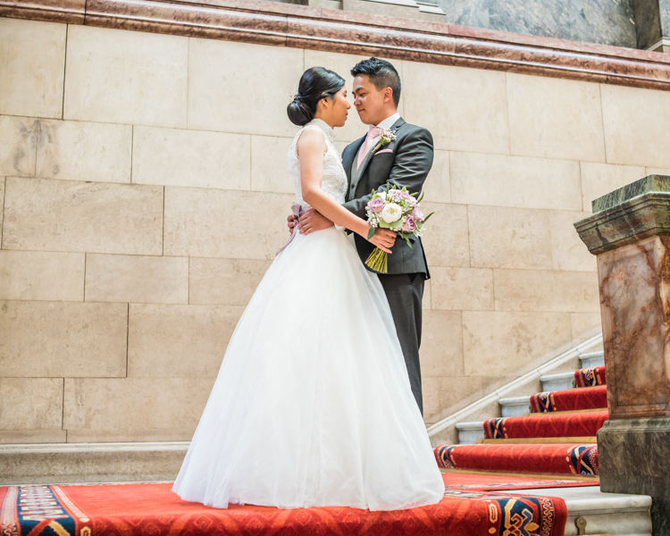 First look in Sheffield Town Hall for Carmen & Chris' wedding