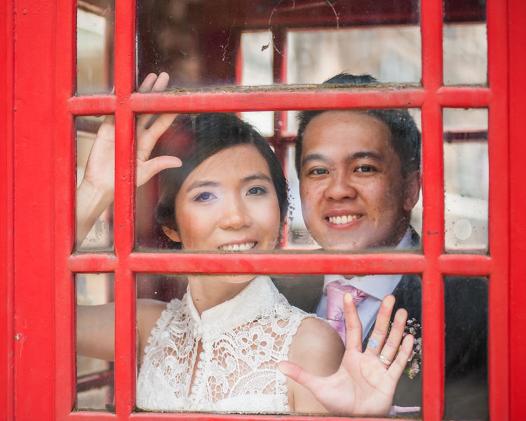 Red phone box in Sheffield for wedding