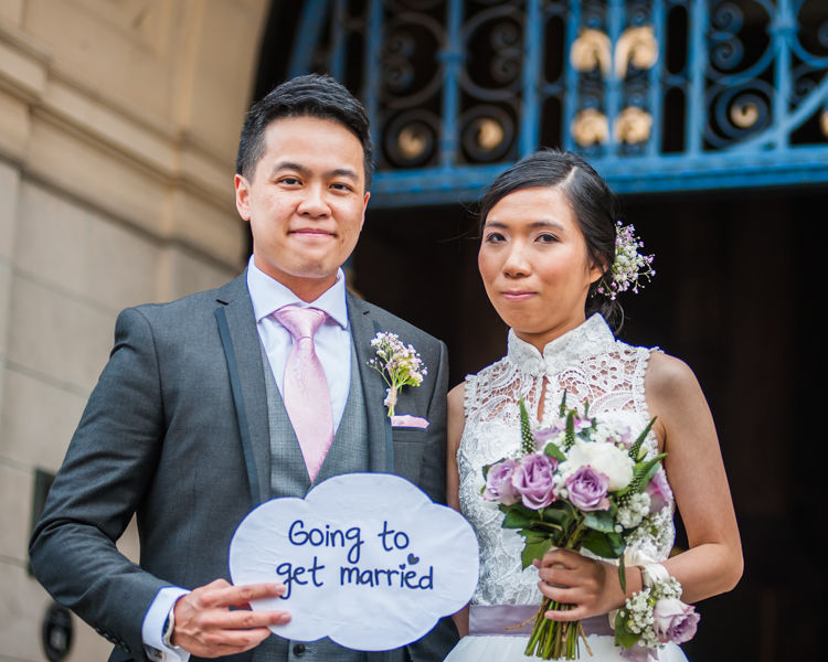Wedding sign for Sheffield Town Hall wedding