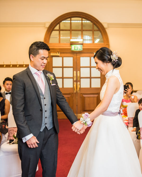 Happy bride and groom - Sheffield Town Hall wedding