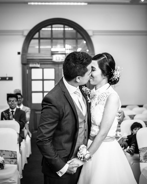 First kiss - Sheffield Town Hall wedding