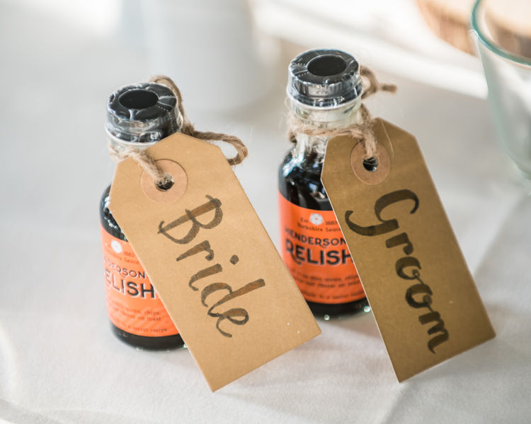 Wedding day favours of Hendersons Relish in Halifax Hall weddings Sheffield