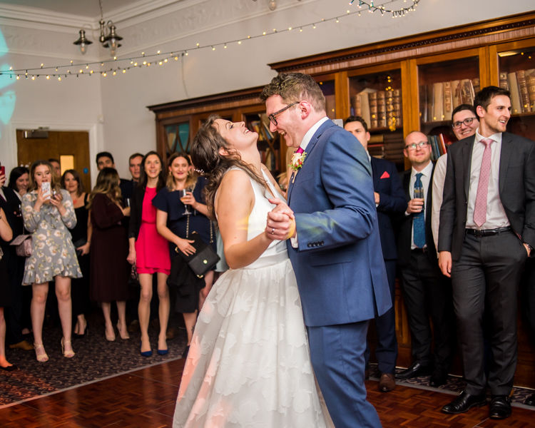 First dance laughs for Steve & Helen in Halifax Hall in Sheffield
