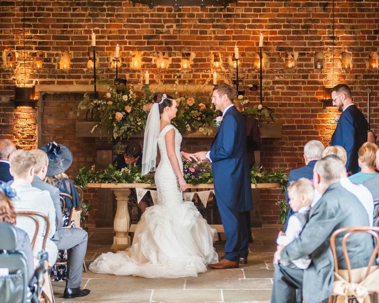 Ring exchange for Joelle & Scott at their Sheffield wedding at Hazel Gap Barn
