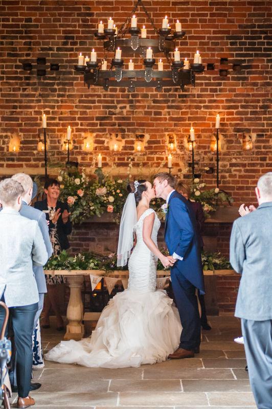 First kiss for Joelle & Scott at their Hazel Gap Barn wedding