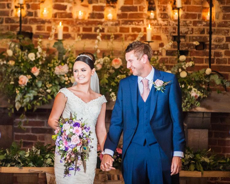Just married bride and groom at Hazel Gap Barn Sheffield wedding photographers