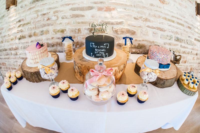 Cake dessert table for Joelle & Scott at Hazel Gap Barn wedding
