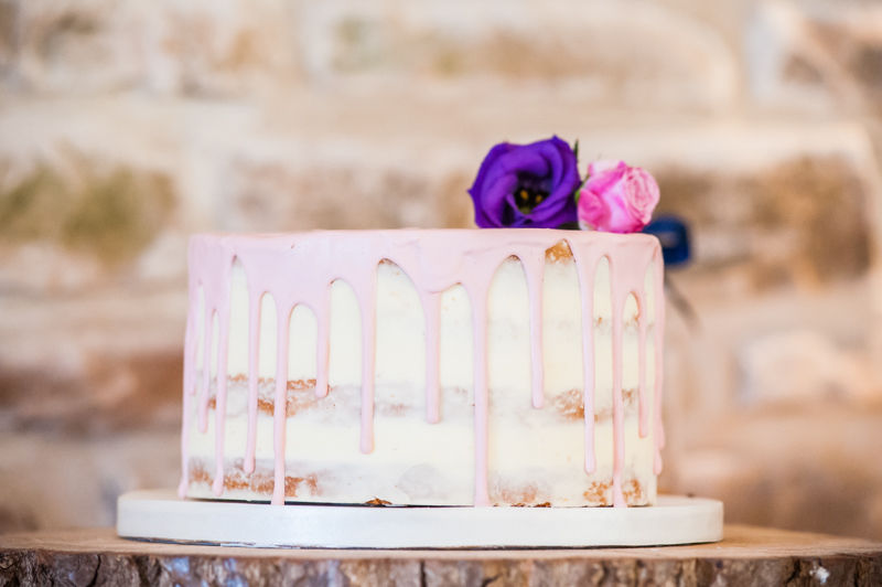 Wedding cake on Sheffield wedding at Hazel Gap Barn