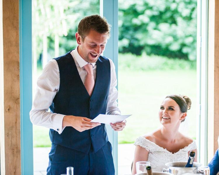 Hazel Gap Barn wedding speeches - groom Scott making everyone laugh
