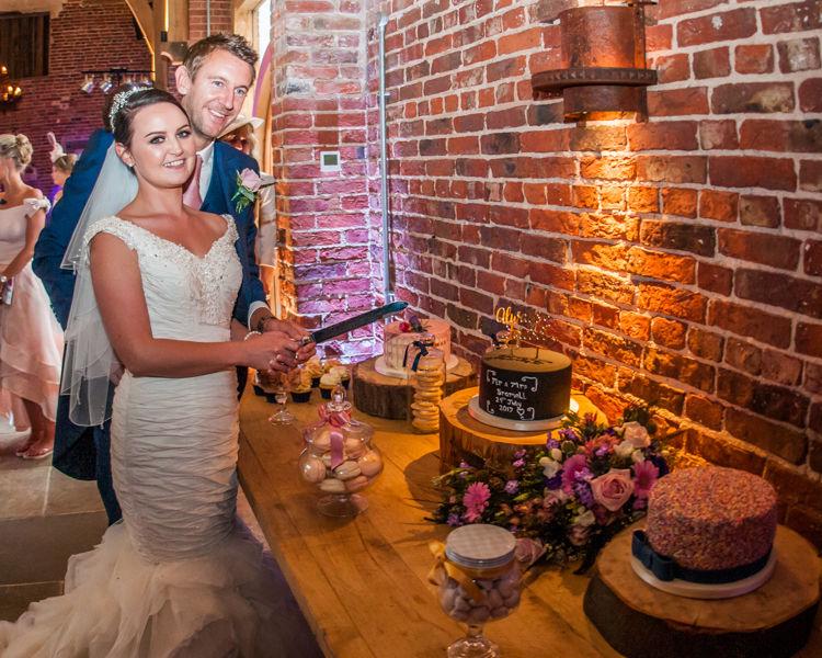 Wedding cake table in Sheffield at Hazel Gap Barn