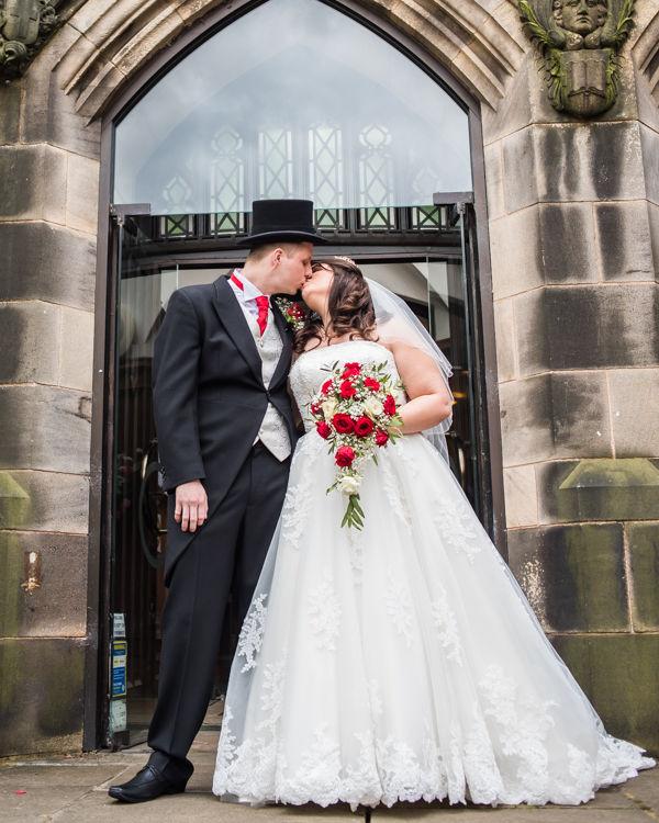 Kisses outside St Andrews Church, Psalter Lane in Sheffield
