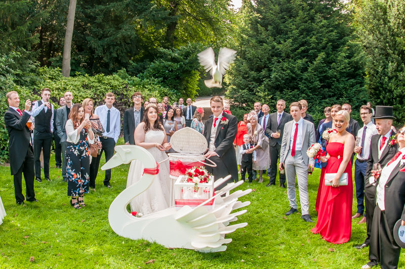 Dove release wedding photography at Kenwood Hall in Sheffield