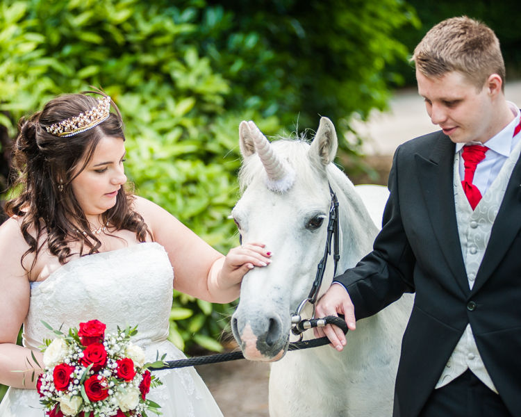 Kenwood Hall wedding photos with a unicorn for Helen & Tom