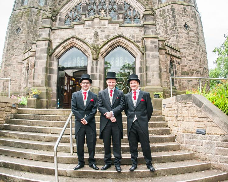 Groomsmen waiting outside St Andrew's Church in Psalter Lane