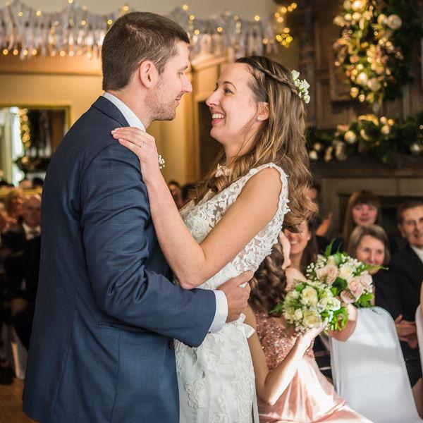 First kiss Sheffield wedding photographers Whirlowbrook Hall