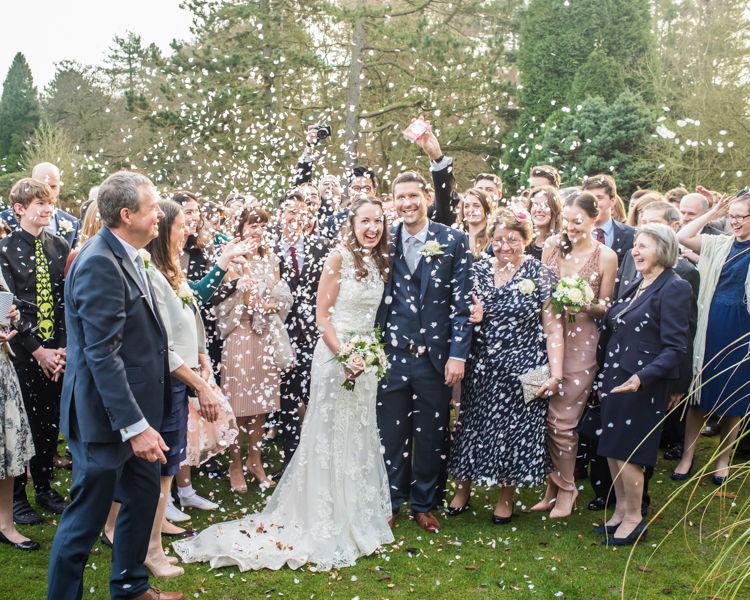 Wedding confetti Sheffield wedding photographers Whirlowbrook Hall