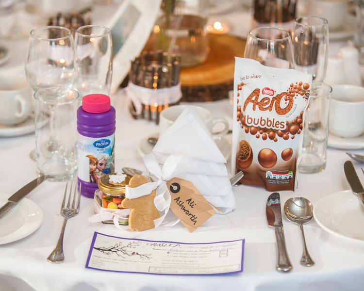 Reception table details Sheffield wedding photographers Whirlowbrook Hall