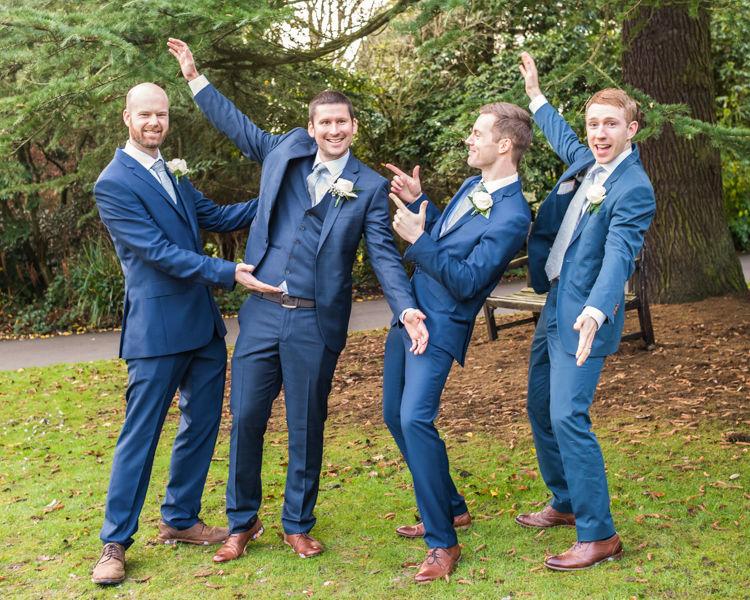Groomsmen posing Sheffield wedding photographers Whirlowbrook Hall