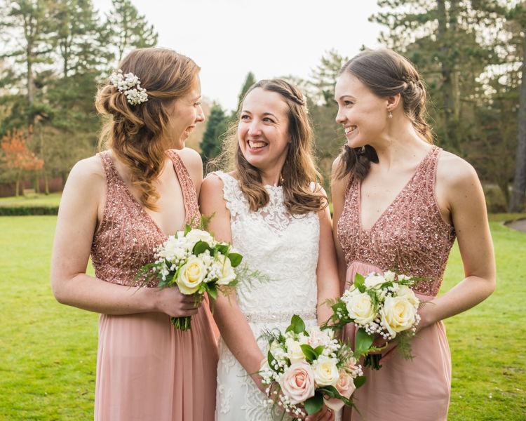 Bridesmaids laughing Sheffield wedding photographers Whirlowbrook Hall