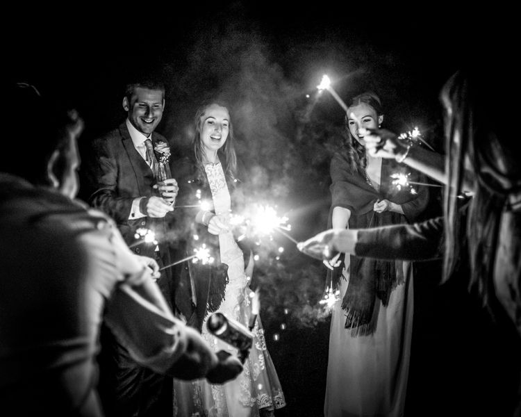 Bridal party sparklers Sheffield wedding photographers Whirlowbrook Hall