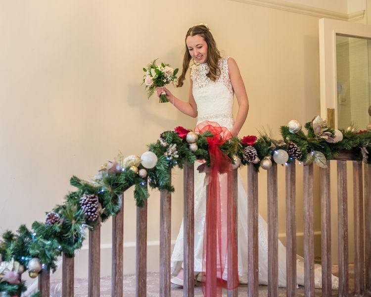 Nikki on Whirlowbrook Hall stairs Sheffield wedding photographers