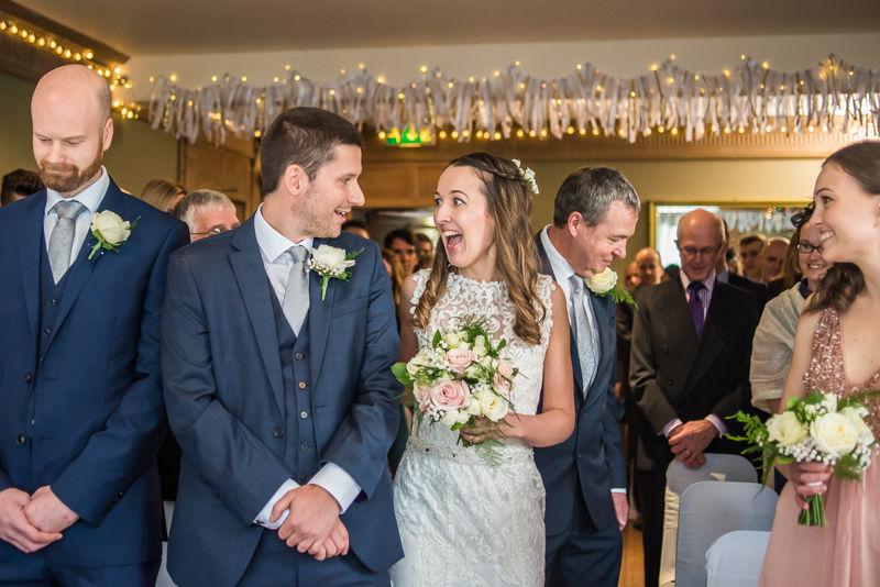 Bride meeting groom, Sheffield wedding photographers Whirlowbrook Hall