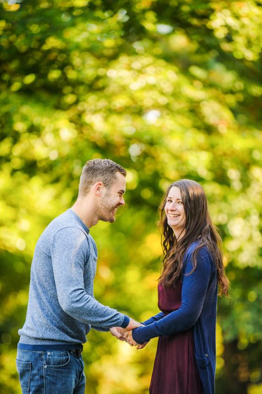 Laughing, pre-wedding portraits Sheffield