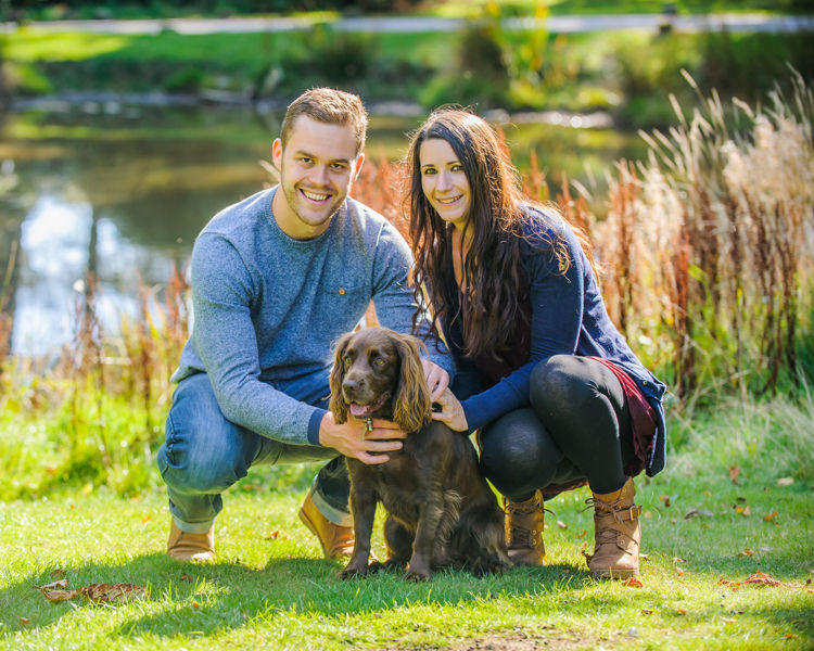 Pre-wedding photos with dog, Whirlowbrook Hall, Sheffield